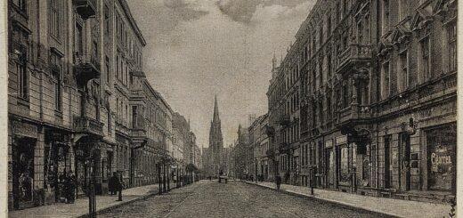 historische Postkarte mit einer Straßenansicht von Kattowitz