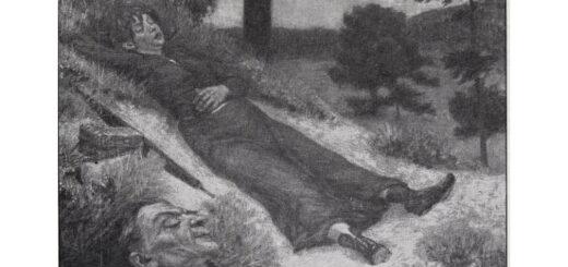 Zwei Vagabundinnen liegen schlafend am Waldrand
