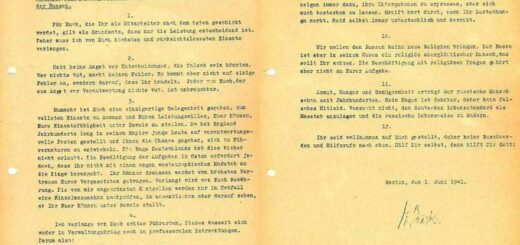 Abbildung eines von Backe verfassten Dokuments